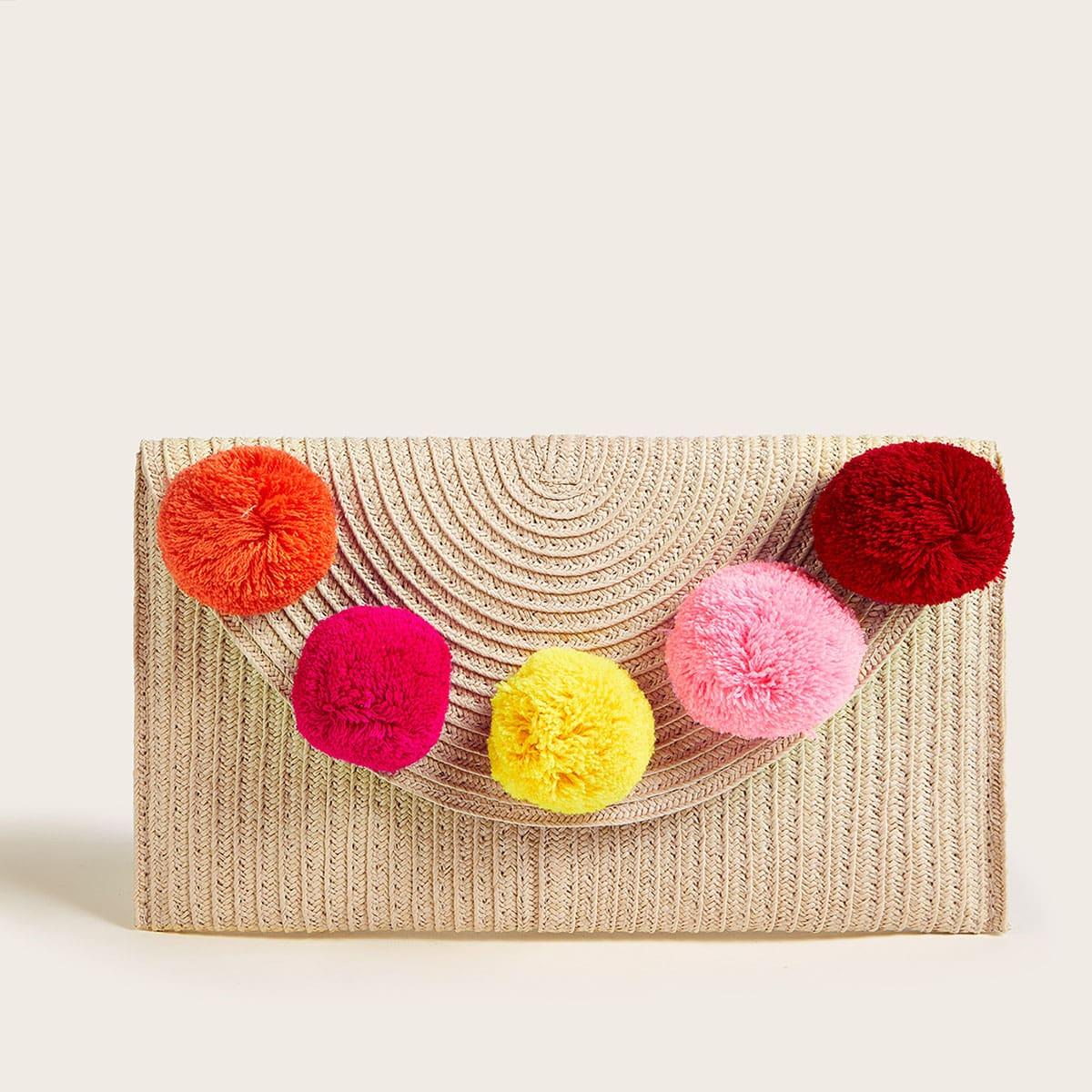 Плетеная сумка-сэтчел с помпоном фото