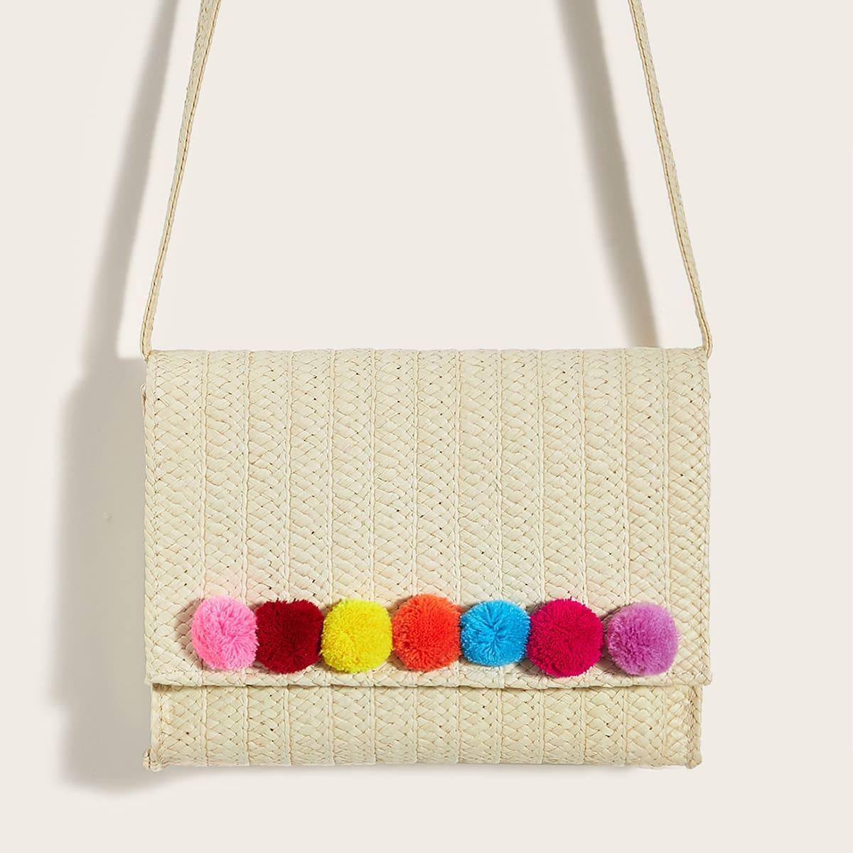 Плетеная сумка через плечо с разноцветным помпоном фото