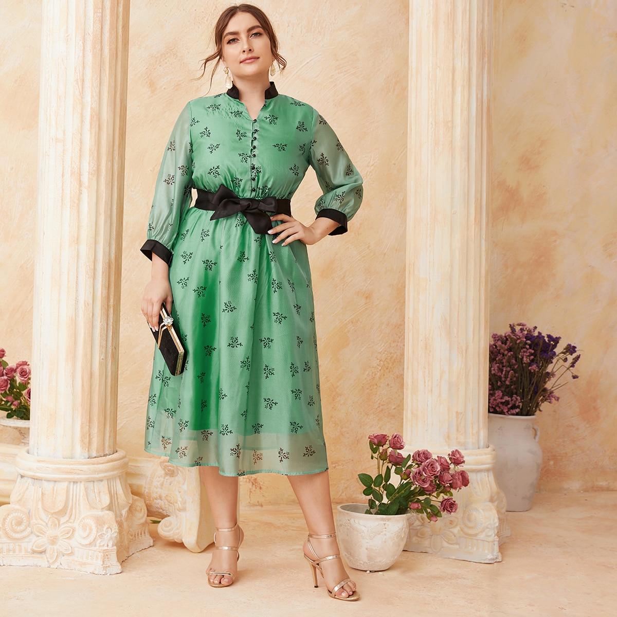 SHEIN / Kleid mit Blumen Muster, Knöpfen vorn, Farbblock und Gürtel
