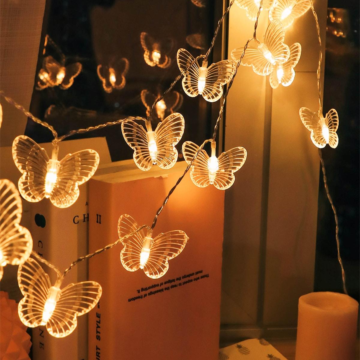 SHEIN / 20 Stücke Schnurlicht mit 20 Stücken Schmetterling Dekor