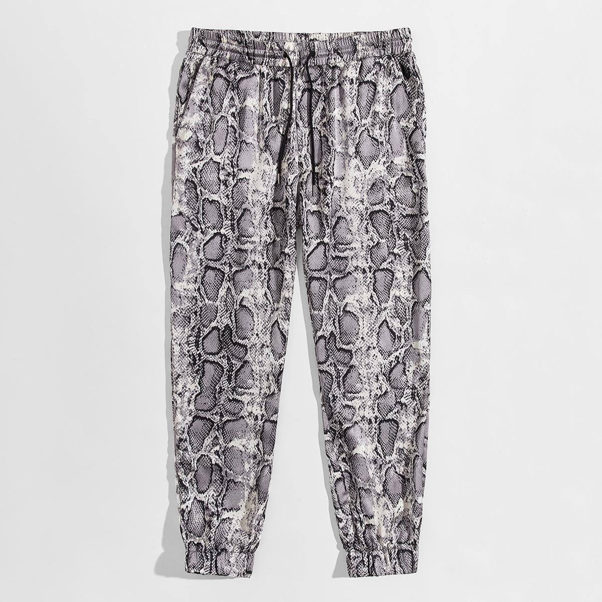 SHEIN / Pantalones de hombres con estampado de piel de serpiente de cintura con cordón