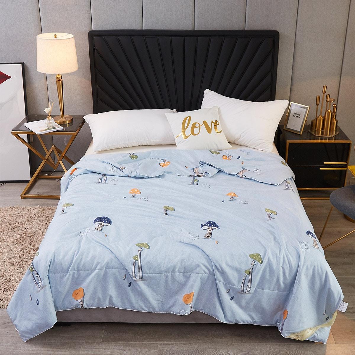 Летнее одеяло с принтом гриба фото