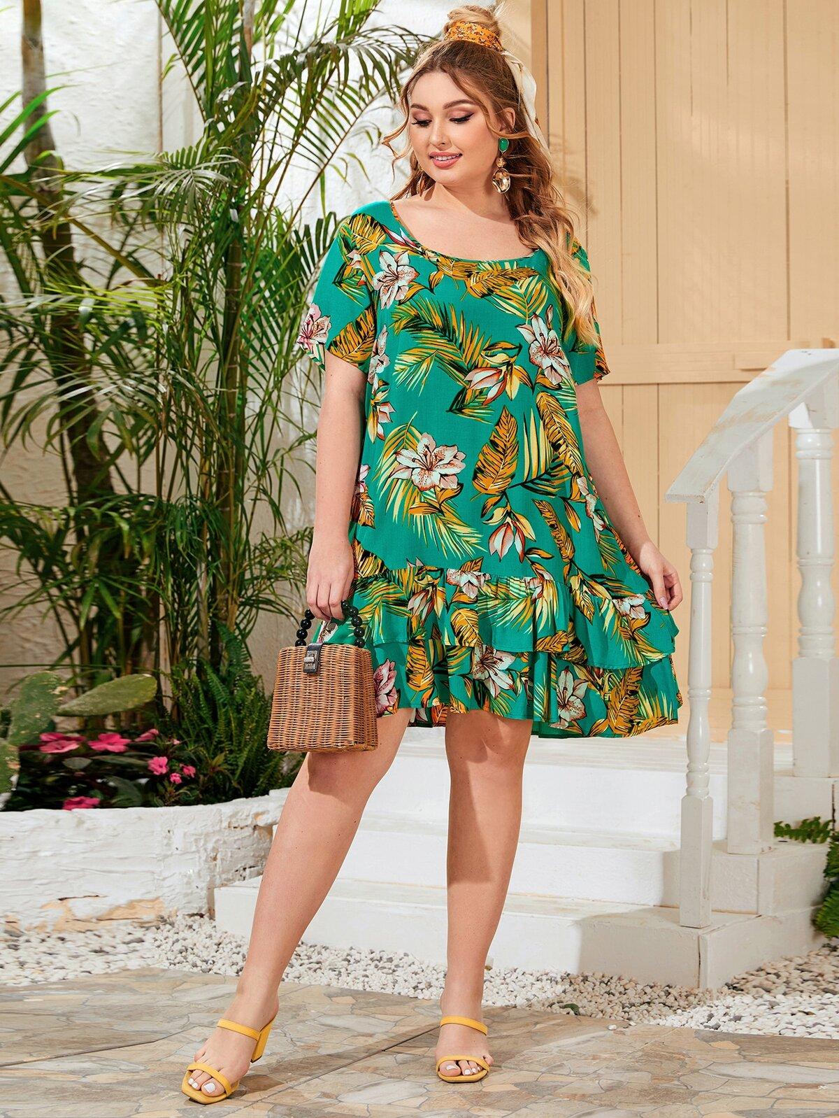 Plus Tropical Print Double Layered Hem Smock Dress