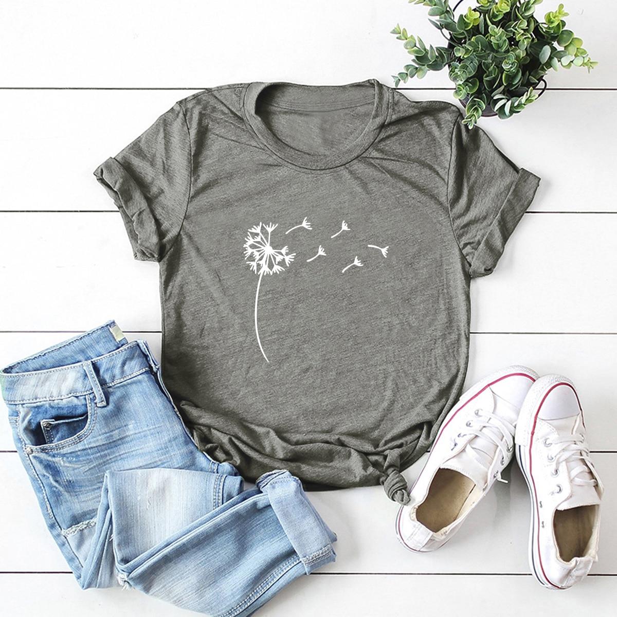 Grijs Casual Bloemen T-shirt