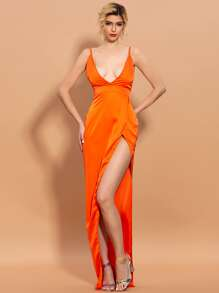 Orange | Satin | Dress | Prom | Neon | Wrap