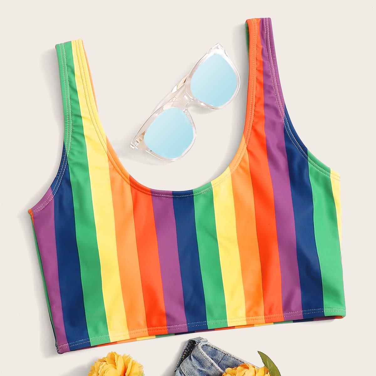 shein Bikinitop met regenboogstrepen