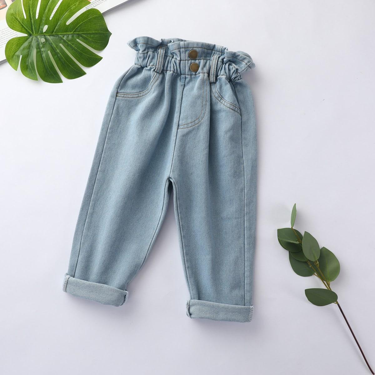 Прямые джинсы с присборенной талией для девочек от SHEIN