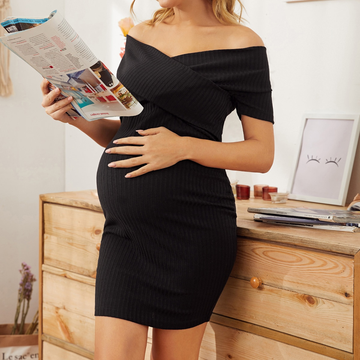 Maternity Трикотажное платье с открытыми плечами от SHEIN