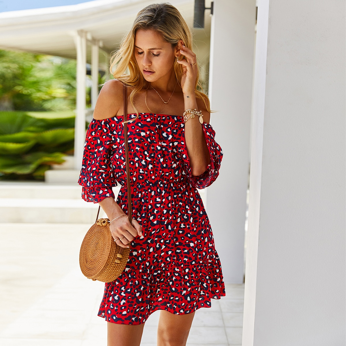 SHEIN / Allover Print Flounce Sleeve Bardot Dress