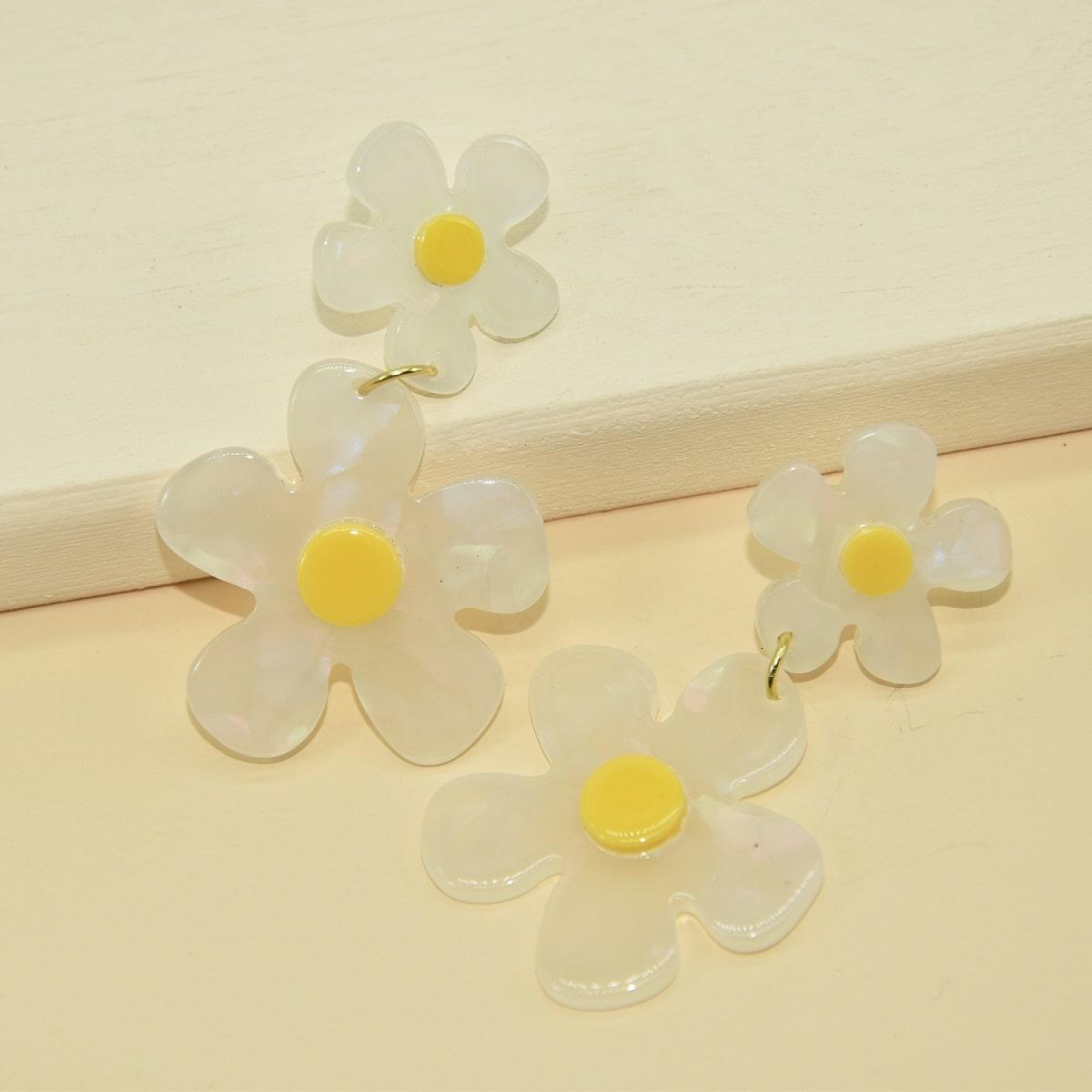 Серьги-капли в форме цветка фото