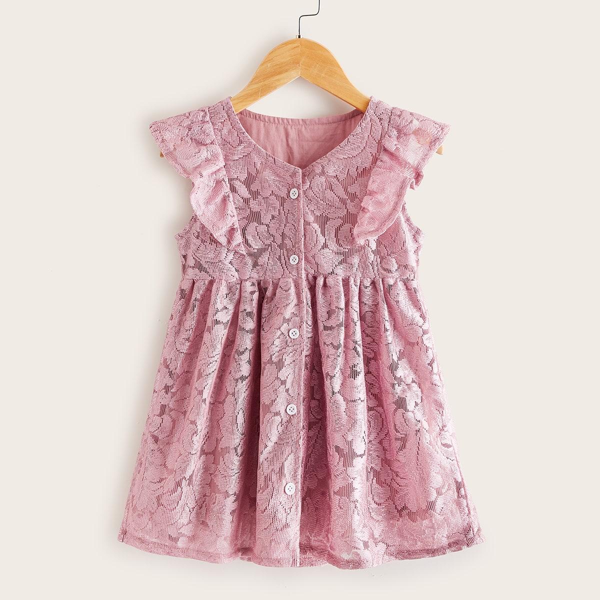 Кружевное платье с пуговицами для девочек фото