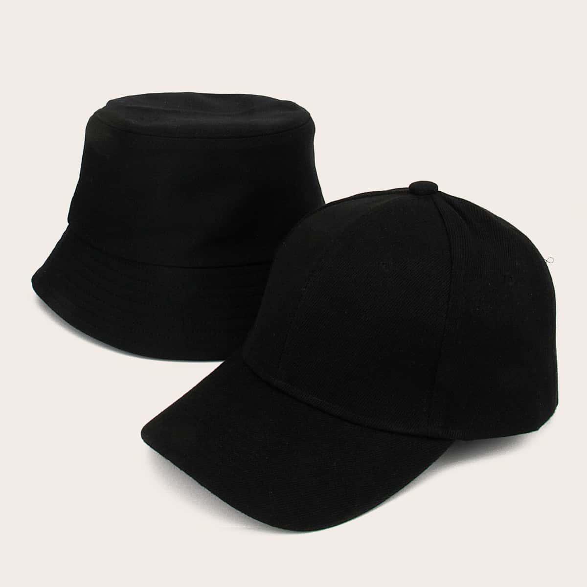 2шт Мужчины Простой Твердый Шляпа от SHEIN