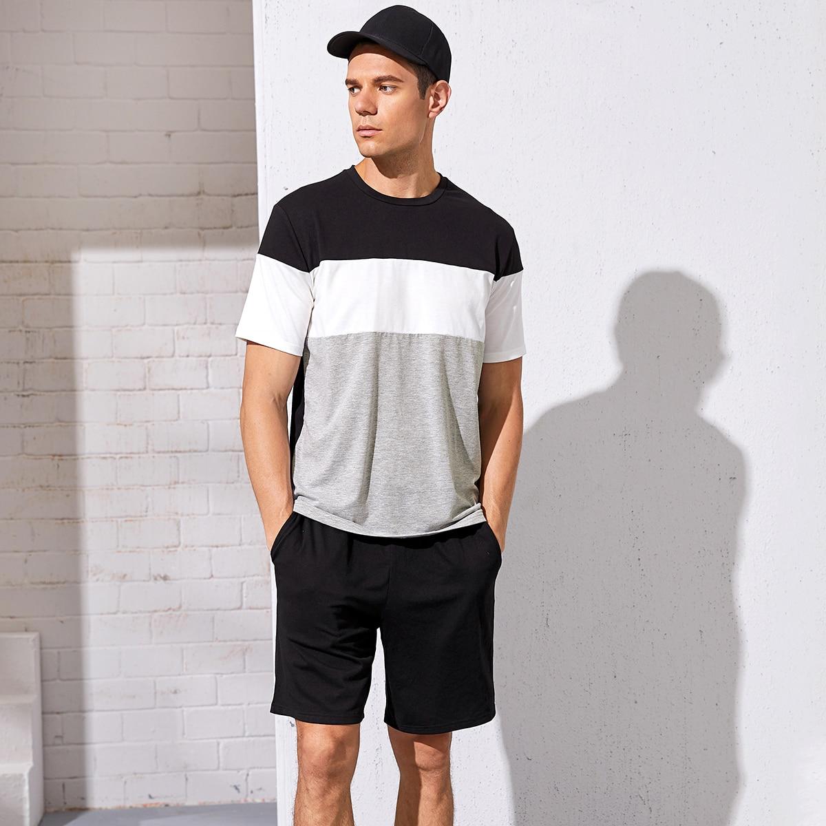 Мужские шорты и контрастный топ от SHEIN