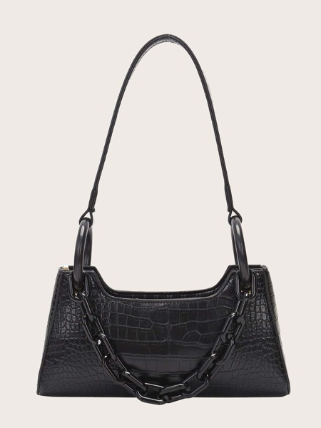 Croc Embossed Tote Bag With Chain Handle