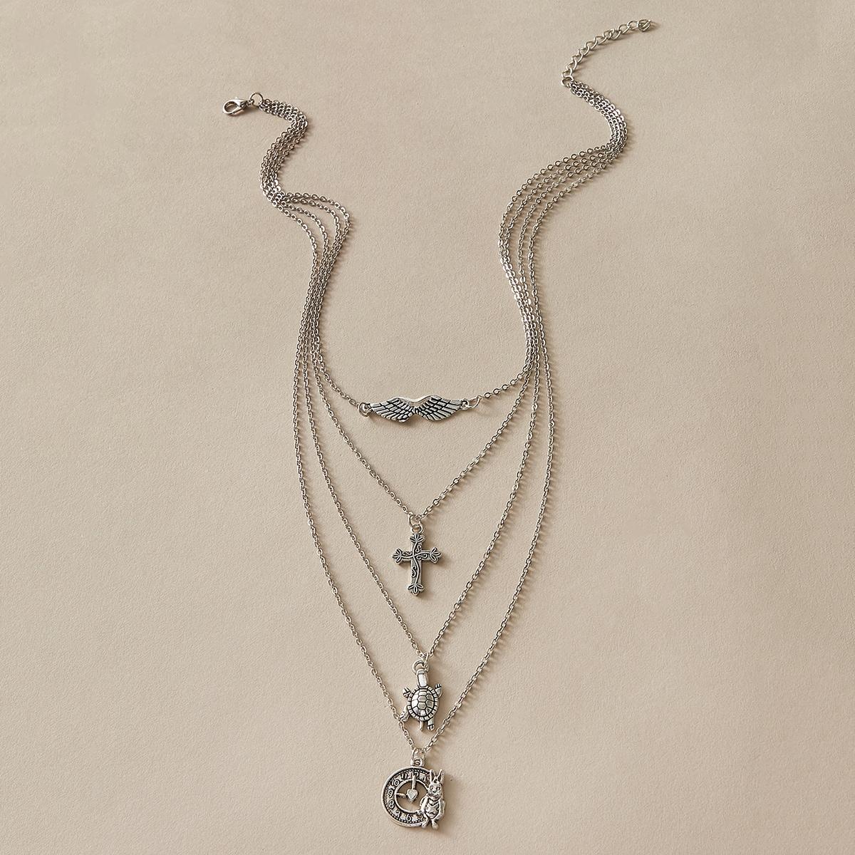 Многослойное ожерелье с крестом фото