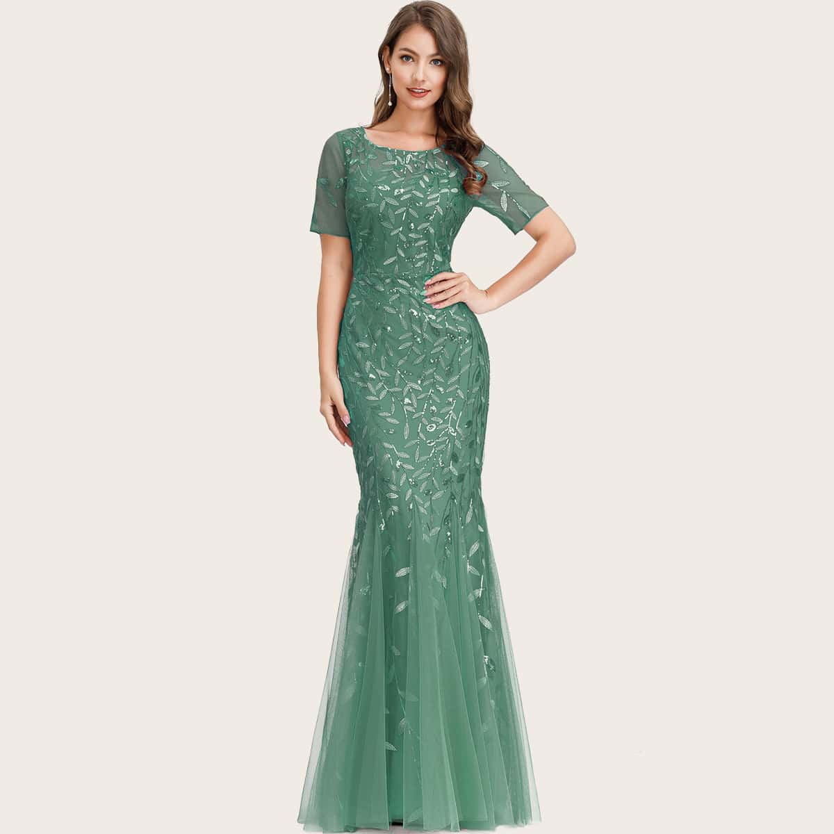 EverPretty Сетчатое платье-русалка с блестками фото