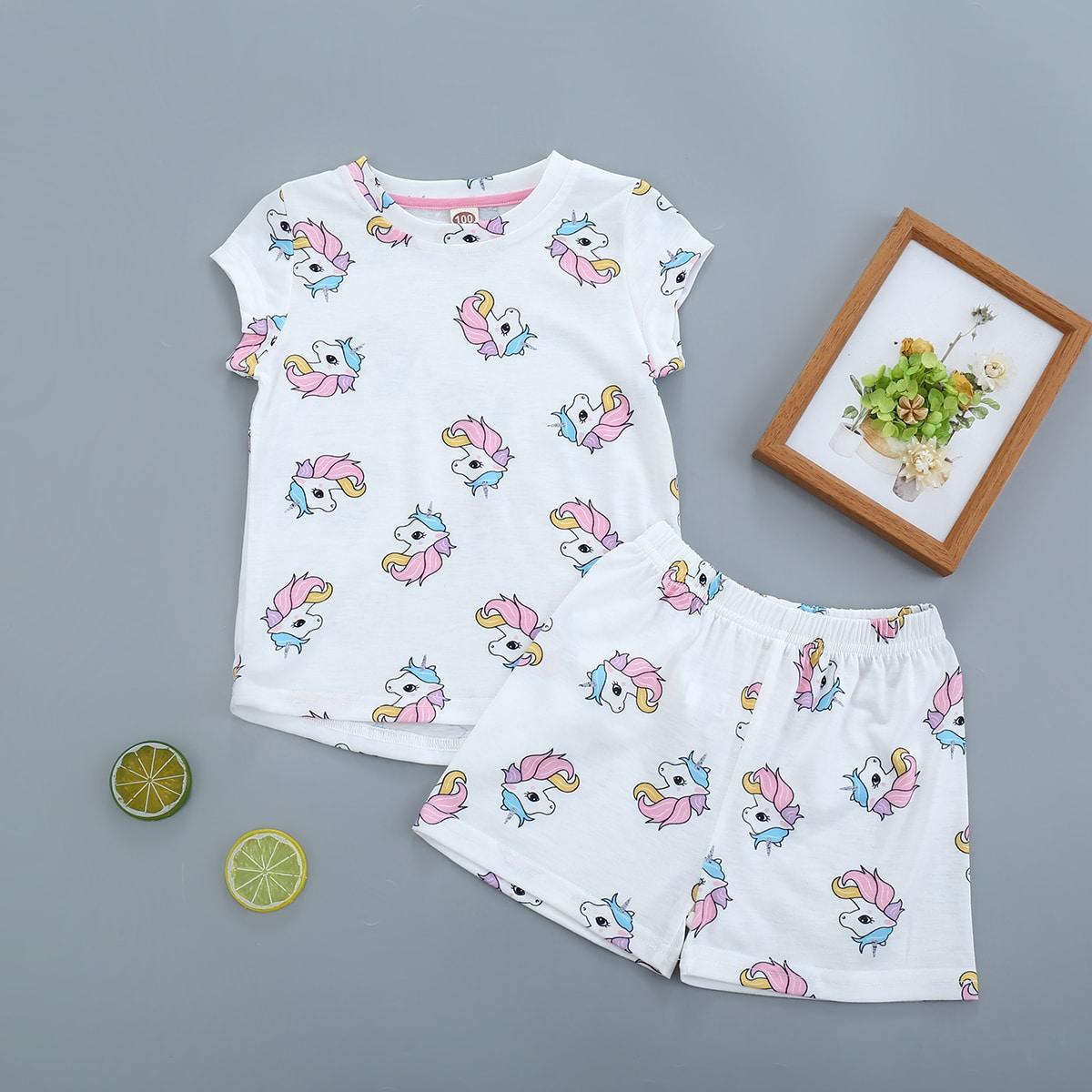Шорты и футболка с мультяшным принтом для девочек от SHEIN