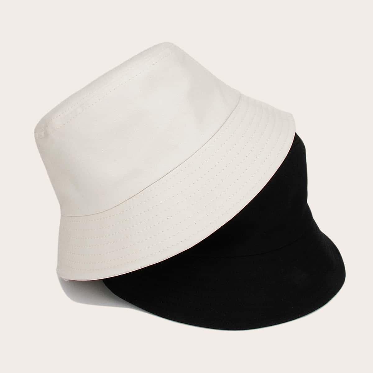 2шт Мужчины Простая шляпа с ведром от SHEIN