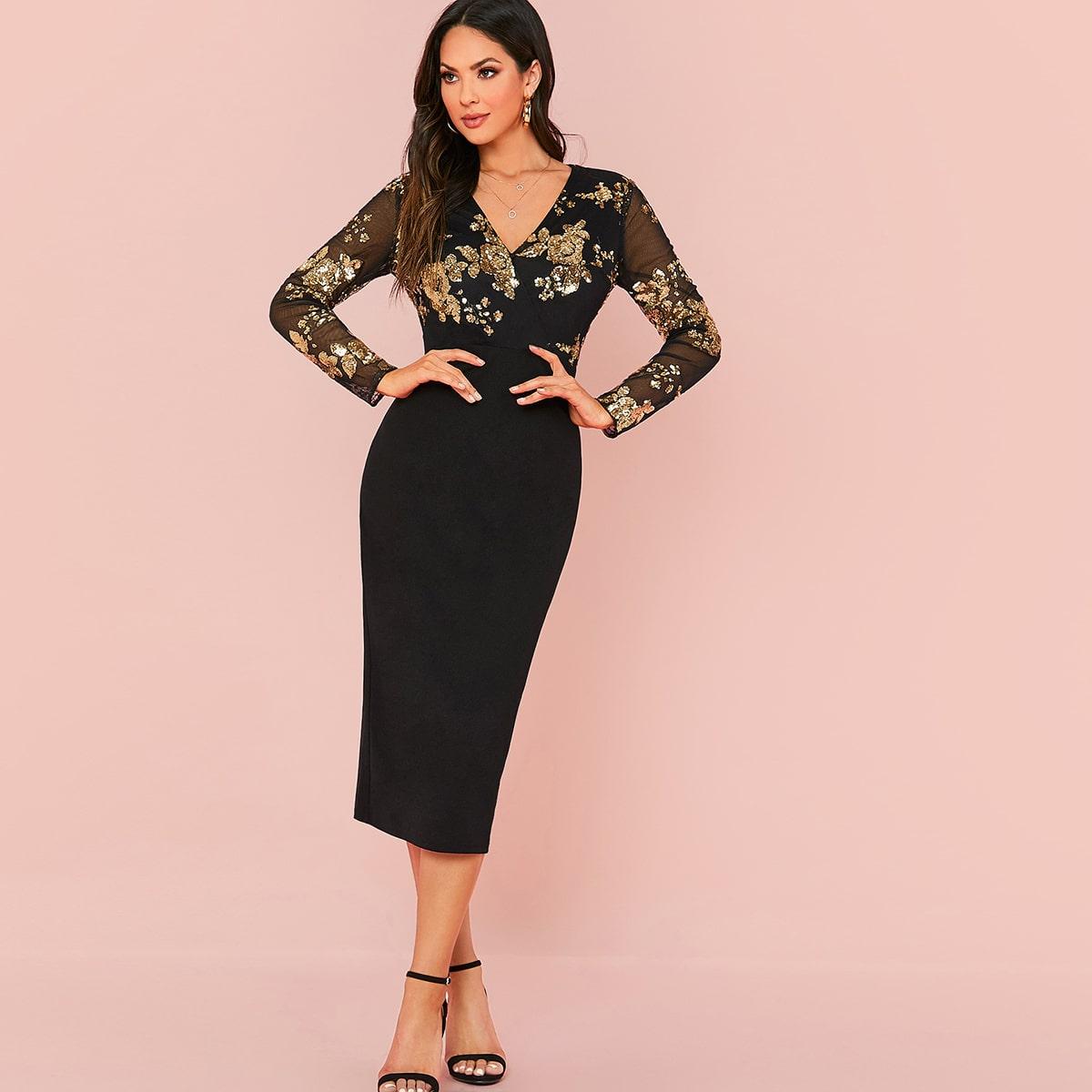 SHEIN / Surplice Neck Sequin Mesh Overlay Bodice Dress