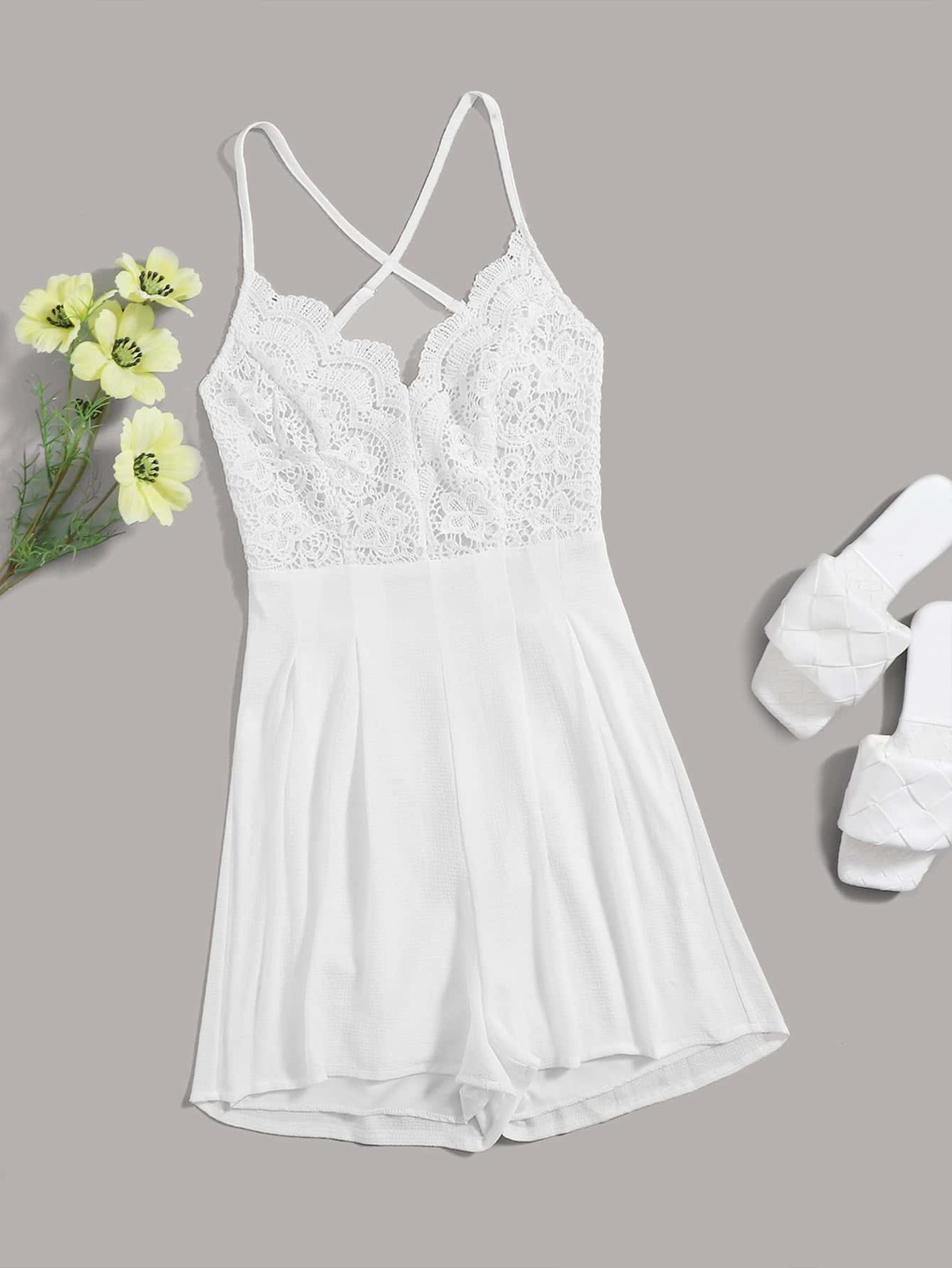 Guipure Lace Backless Cami Romper