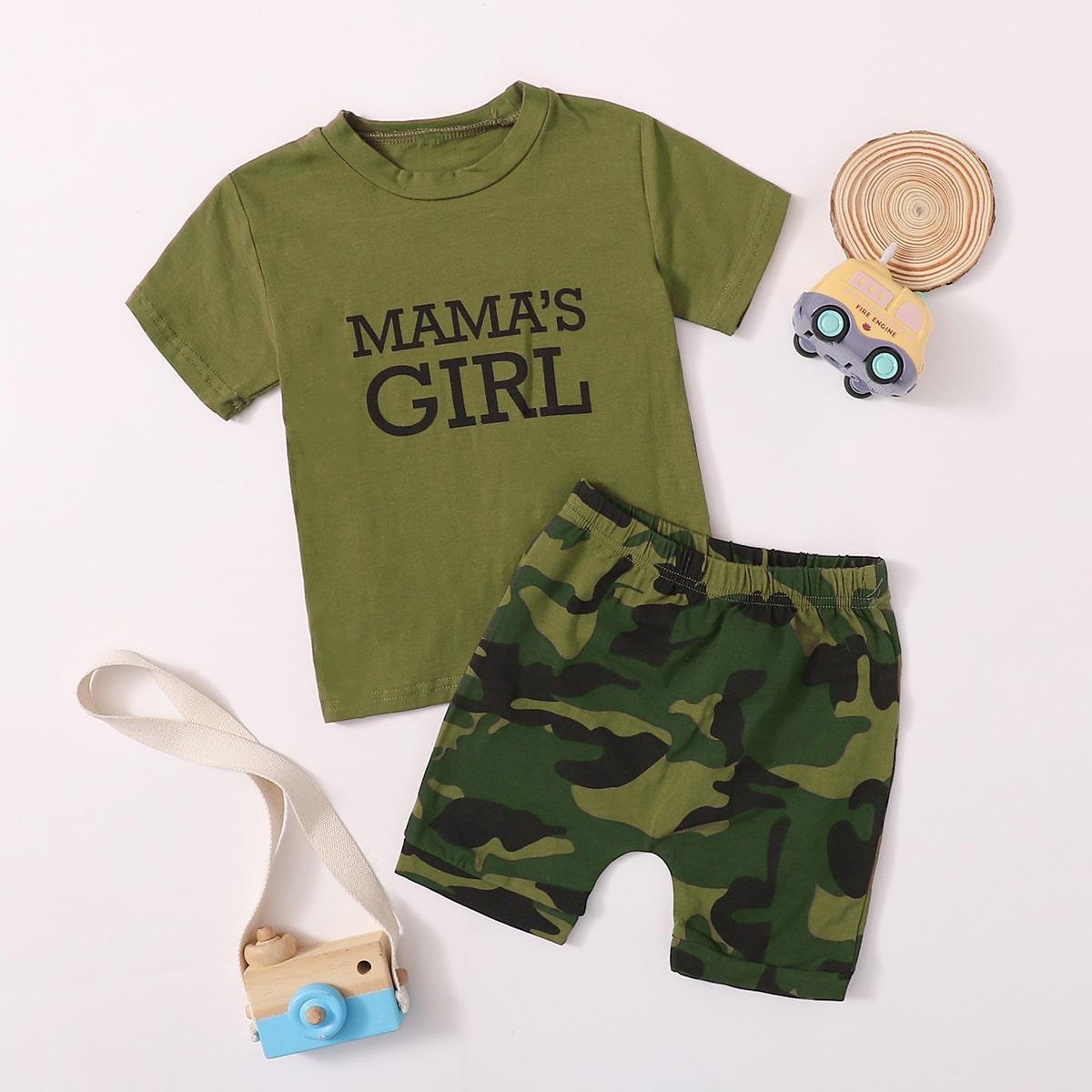 Камуфляжные шорты и футболка с текстовым принтом для девочек фото