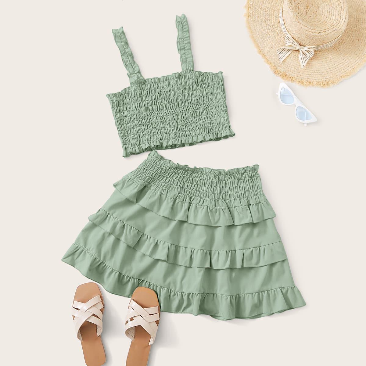 Outfit de dos piezas Volante Liso Verde Casual