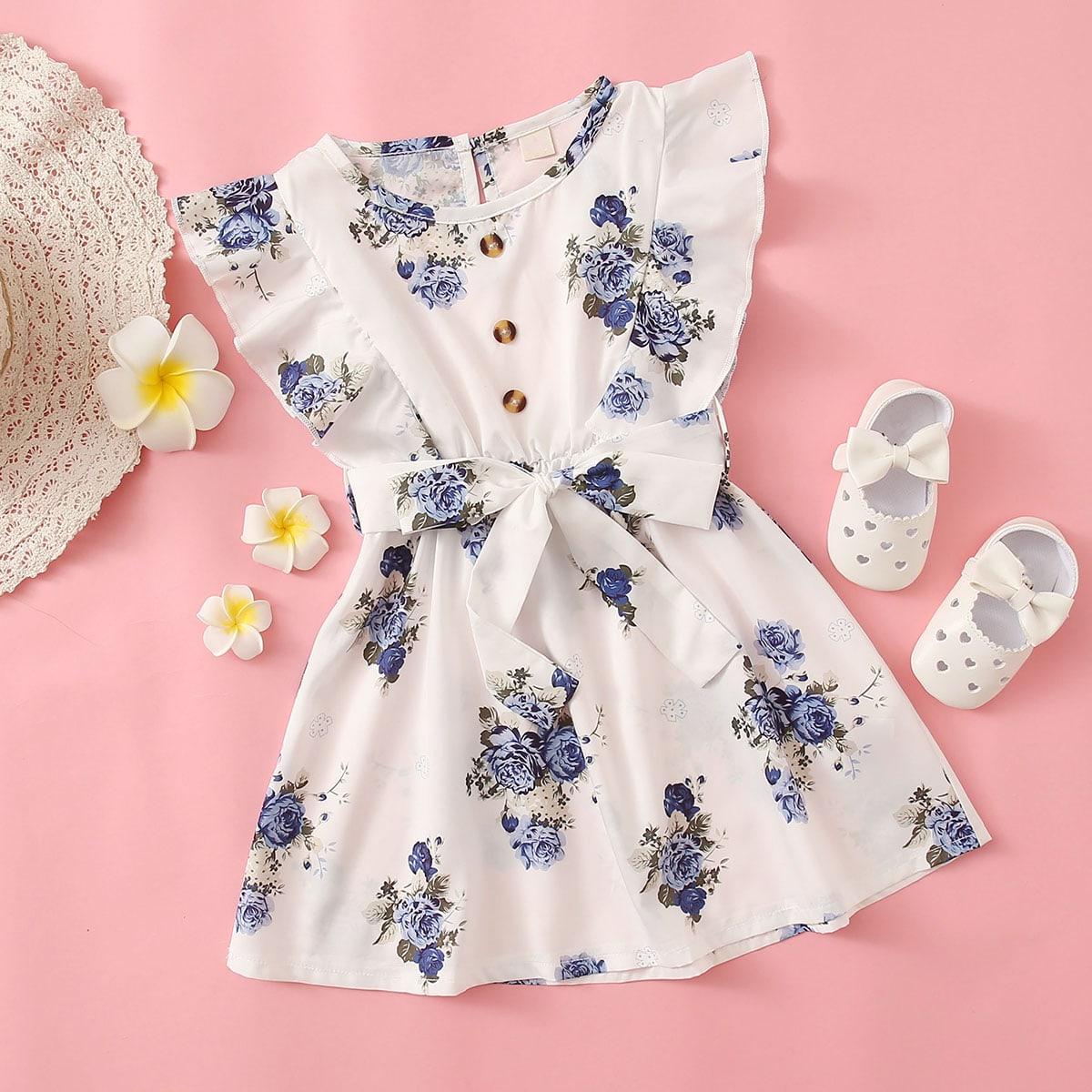 Платье с поясом и цветочным принтом для девочек