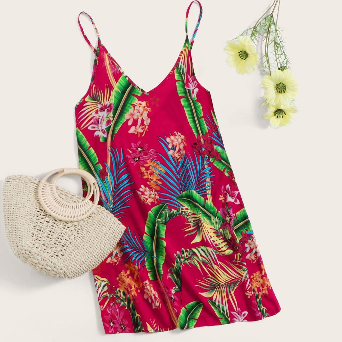 Платье на бретелях с тропическим принтом фото