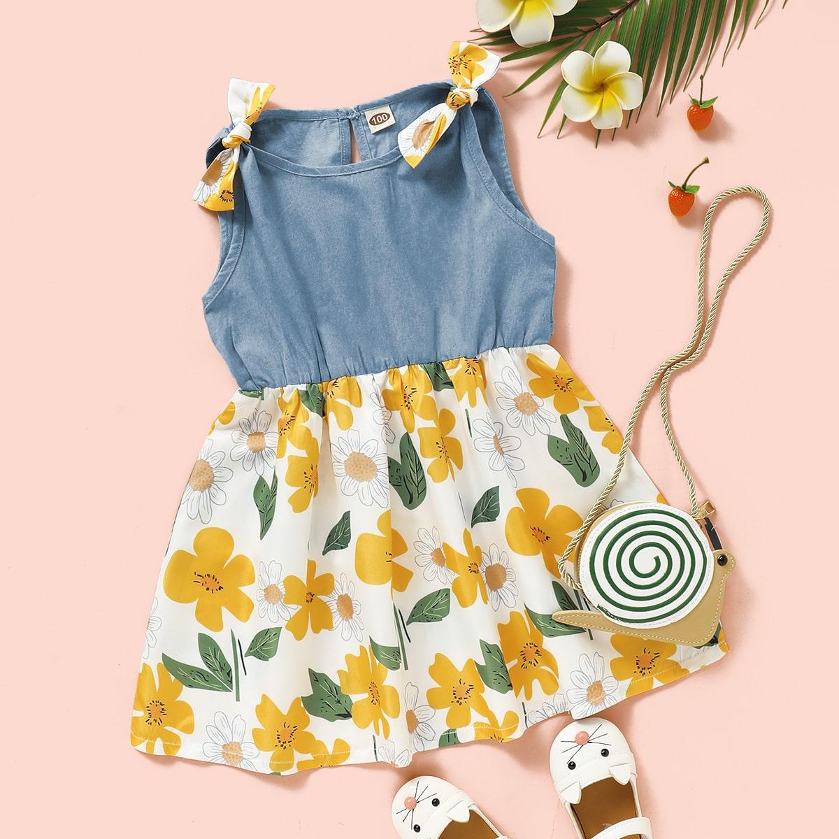 SHEIN / Kleid mit Knoten auf Schulter und Blumen Muster