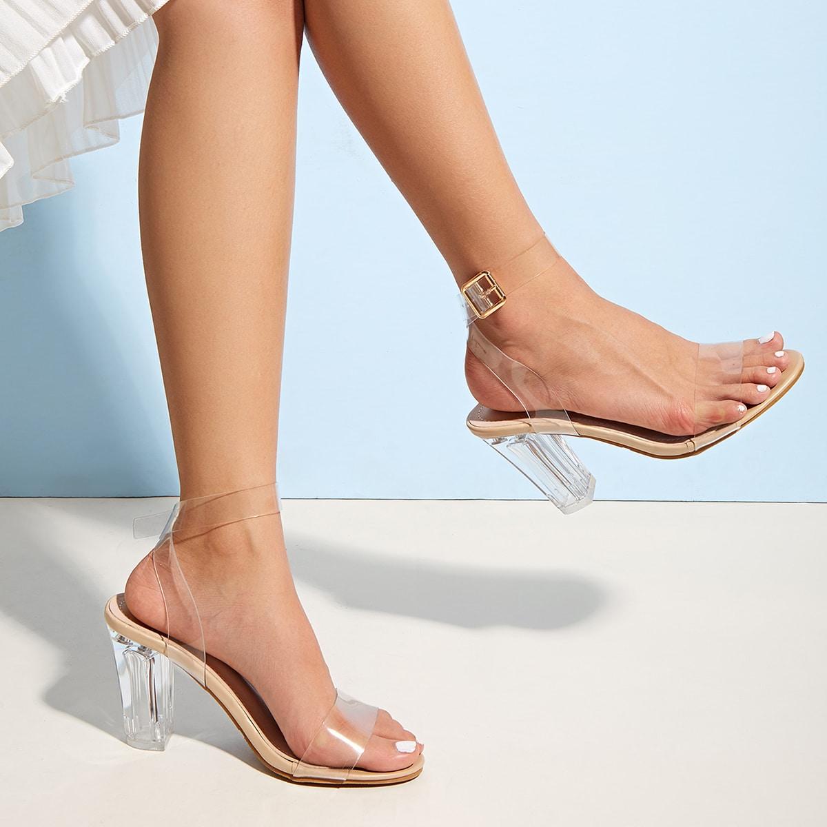 Прозрачные туфли с массивным каблуком фото