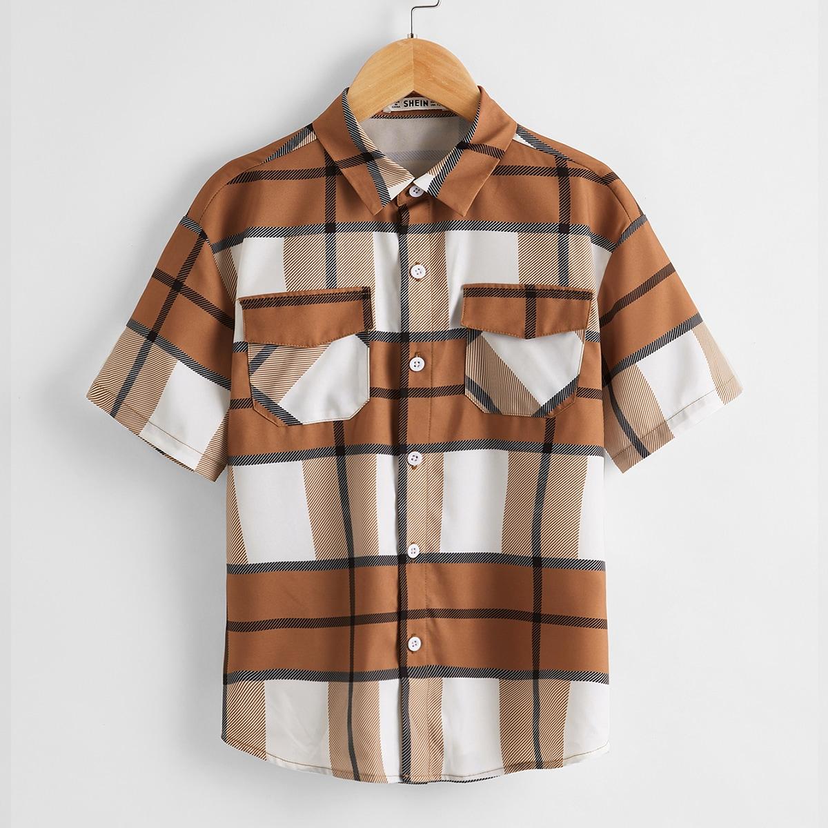 Рубашка в клетку для мальчиков от SHEIN