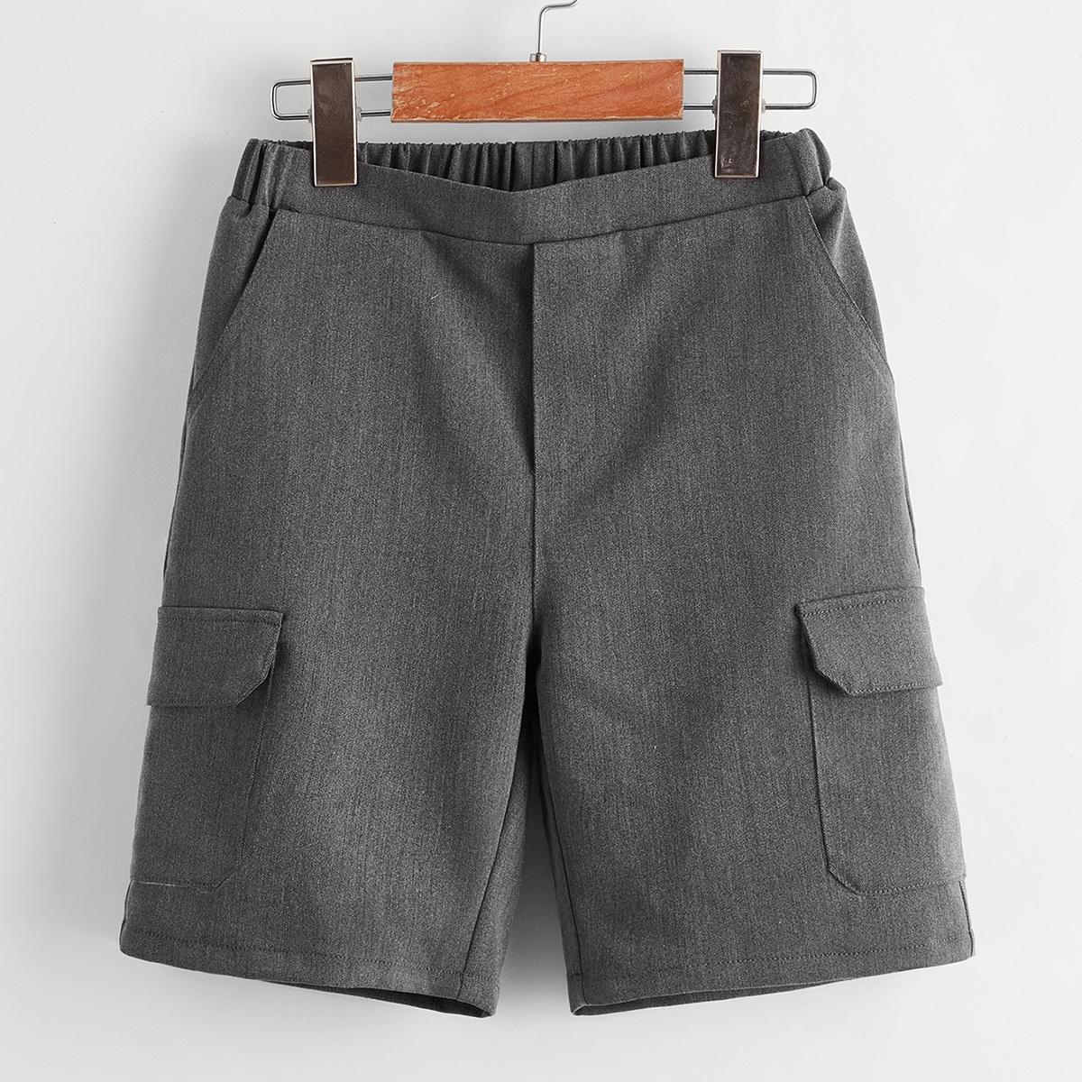 Однотонные шорты с карманом для мальчиков от SHEIN