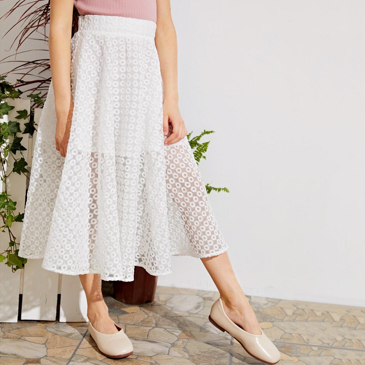 Сетчатая юбка с вышивкой для девочек фото