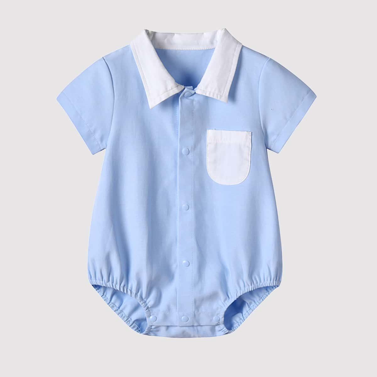 Боди-рубашка с контрастным вырезом для мальчиков от SHEIN