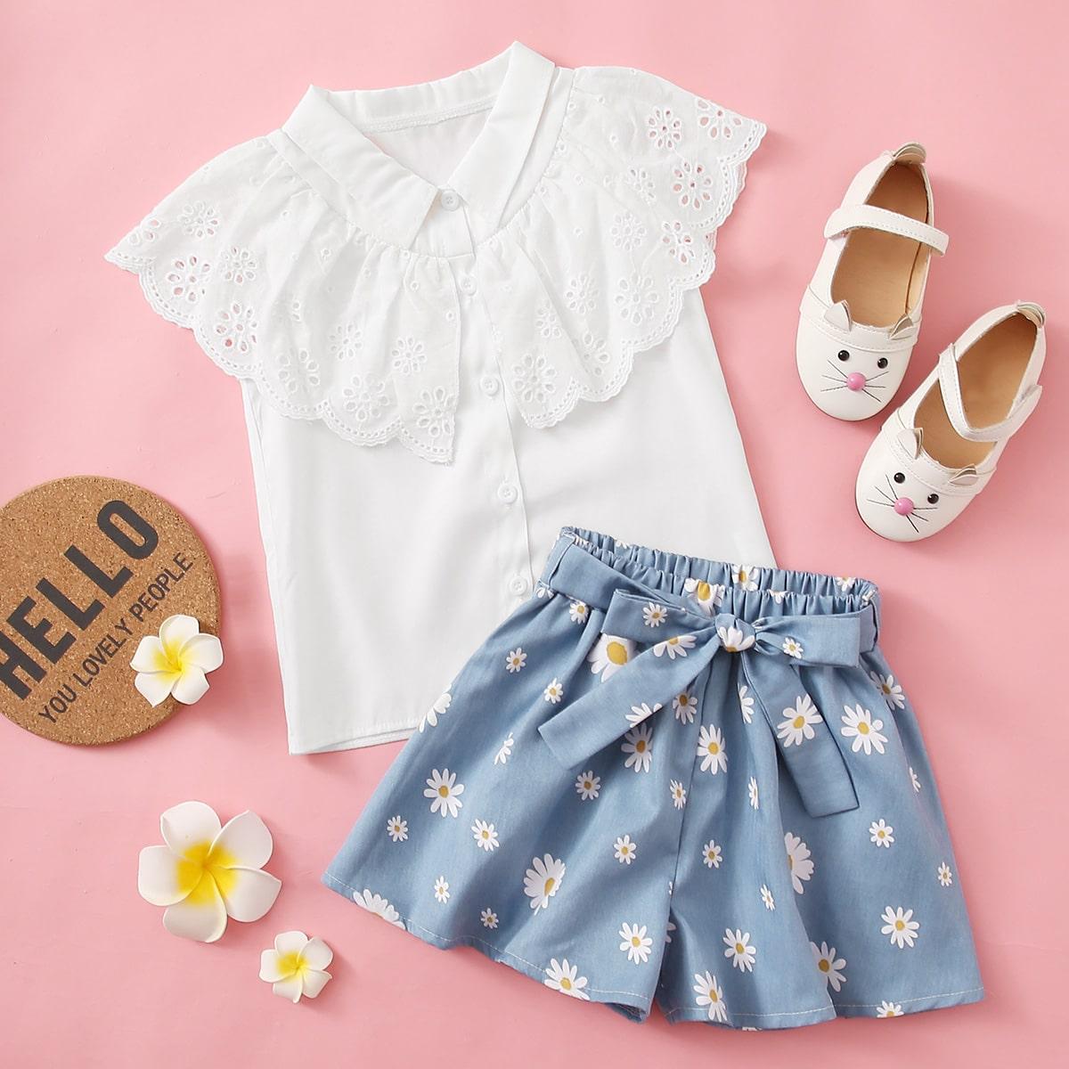 Блузка с вышивкой и шорты с поясом, узором маргаритки для девочек