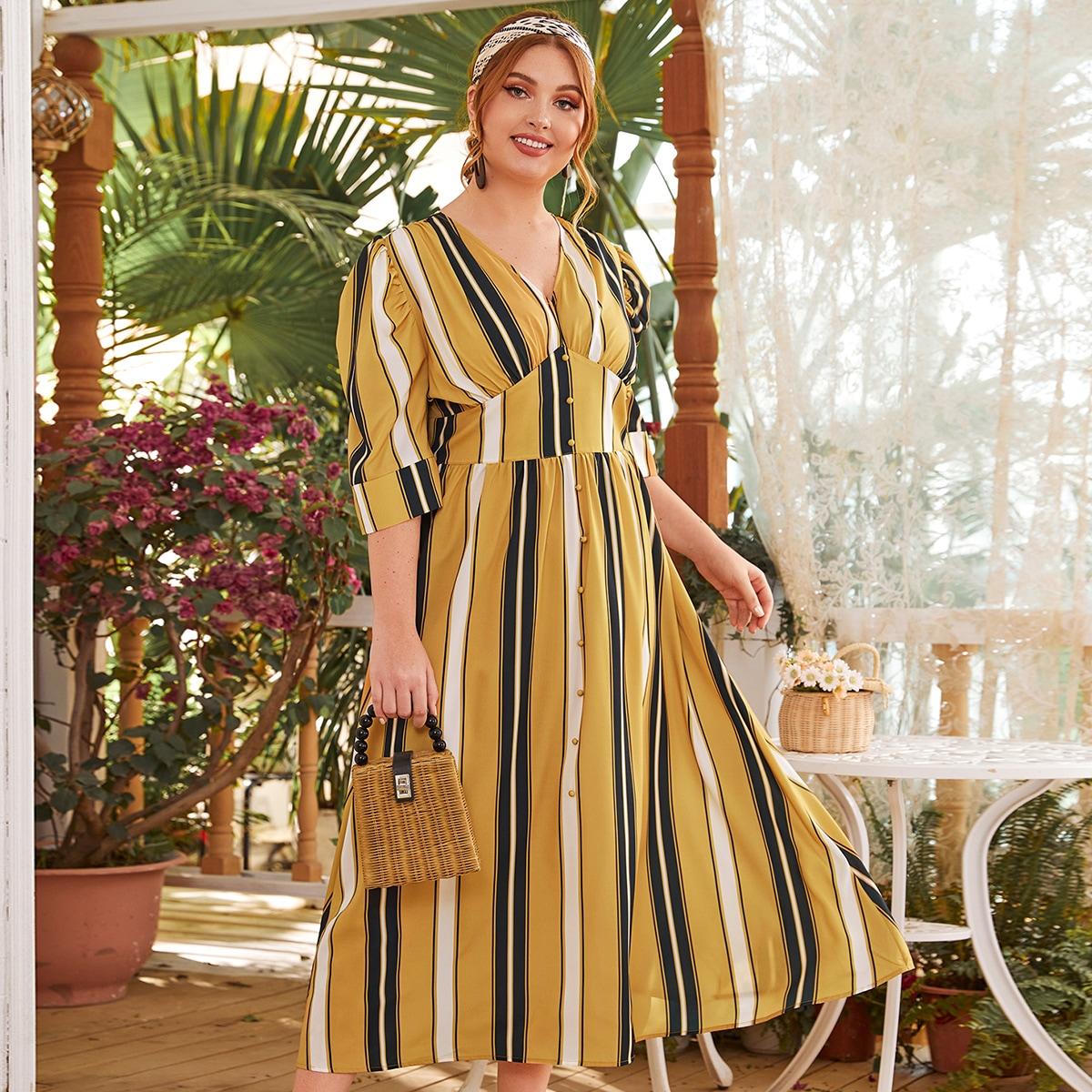 Платье в полоску с пышными рукавами размера плюс