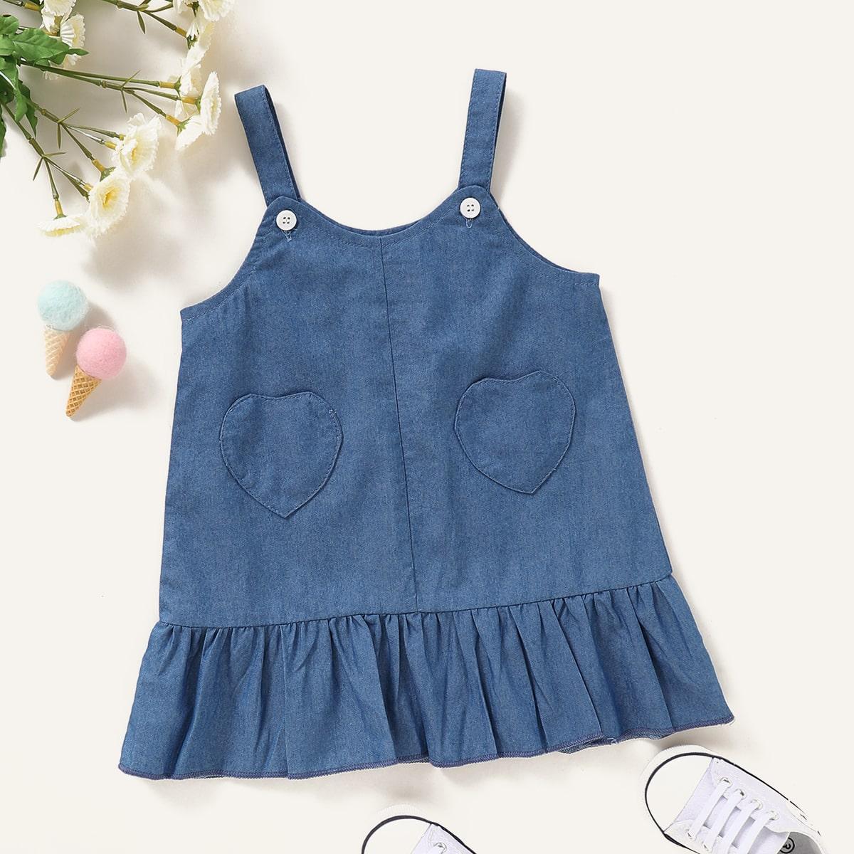 Джинсовое платье на бретелях с оборками для девочек от SHEIN