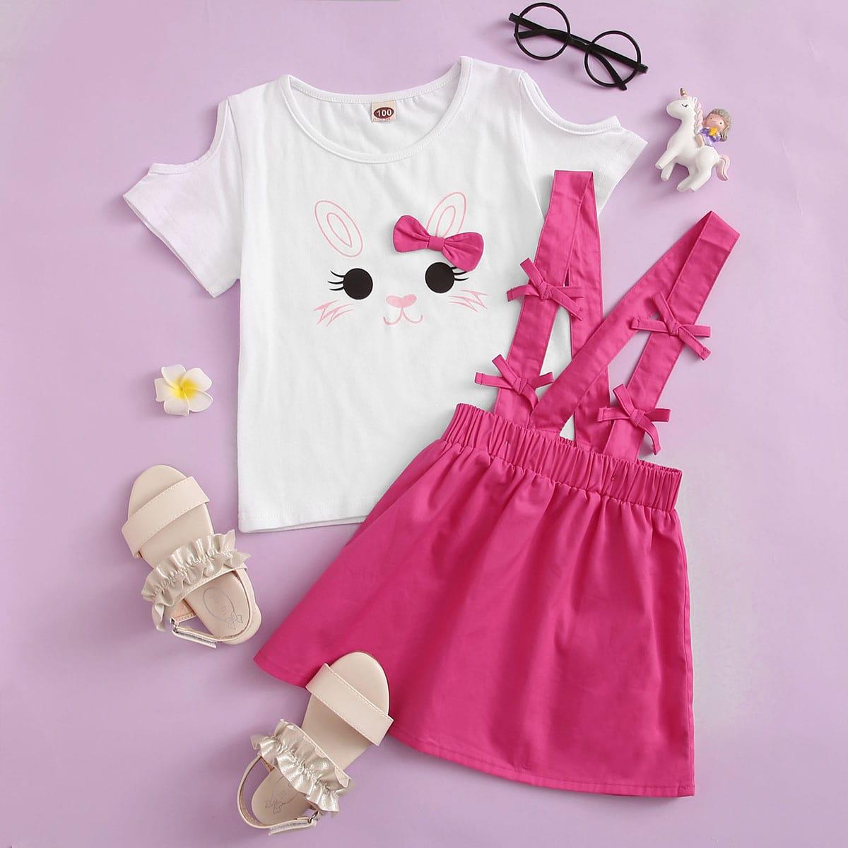 Юбка и футболка с открытыми плечами, мультяшным принтом для девочек фото