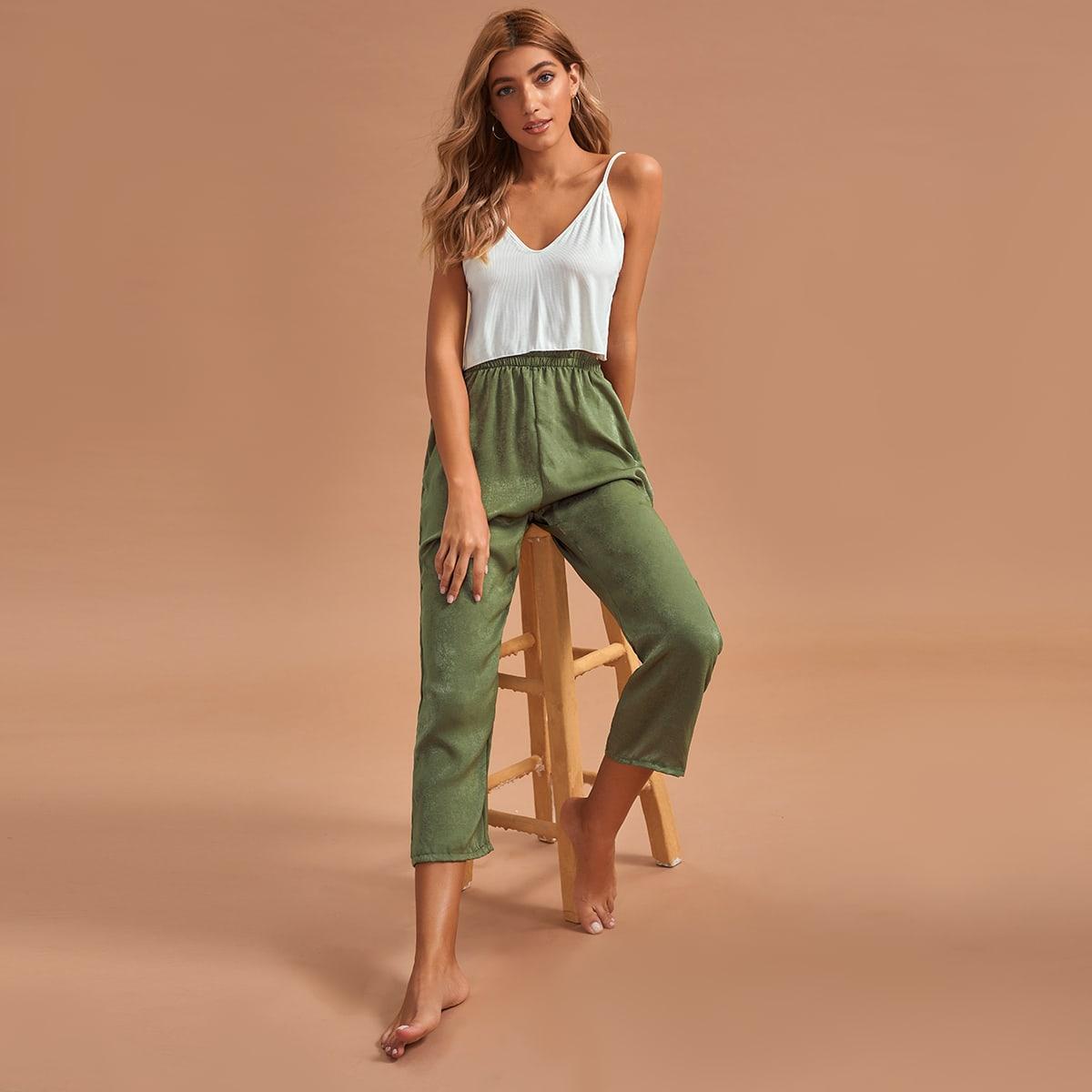 SHEIN / Gerippter Cami Top & Hose mit elastischer Taille Schlafanzug Set