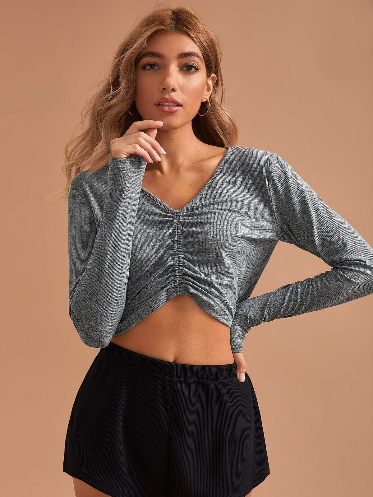 Ruched Front Detail Solid Rib-knit Lounge Top