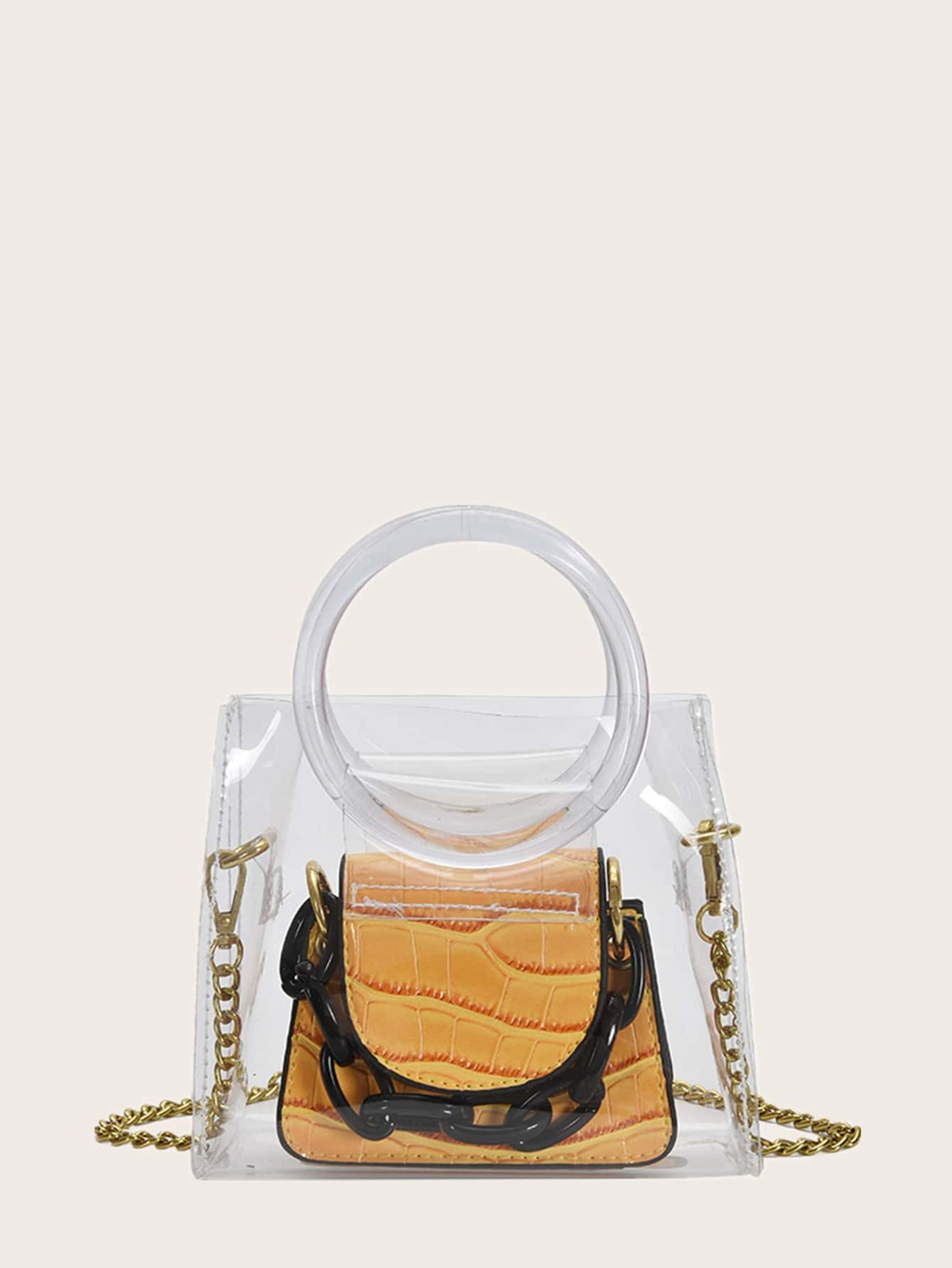 Clear Crossbody Bag With Croc Embossed Satchel Bag
