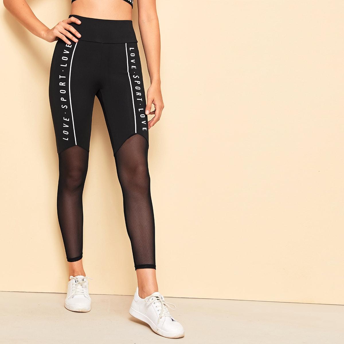SHEIN / Leggings con estampado de letra con malla transparente de cintura ancha