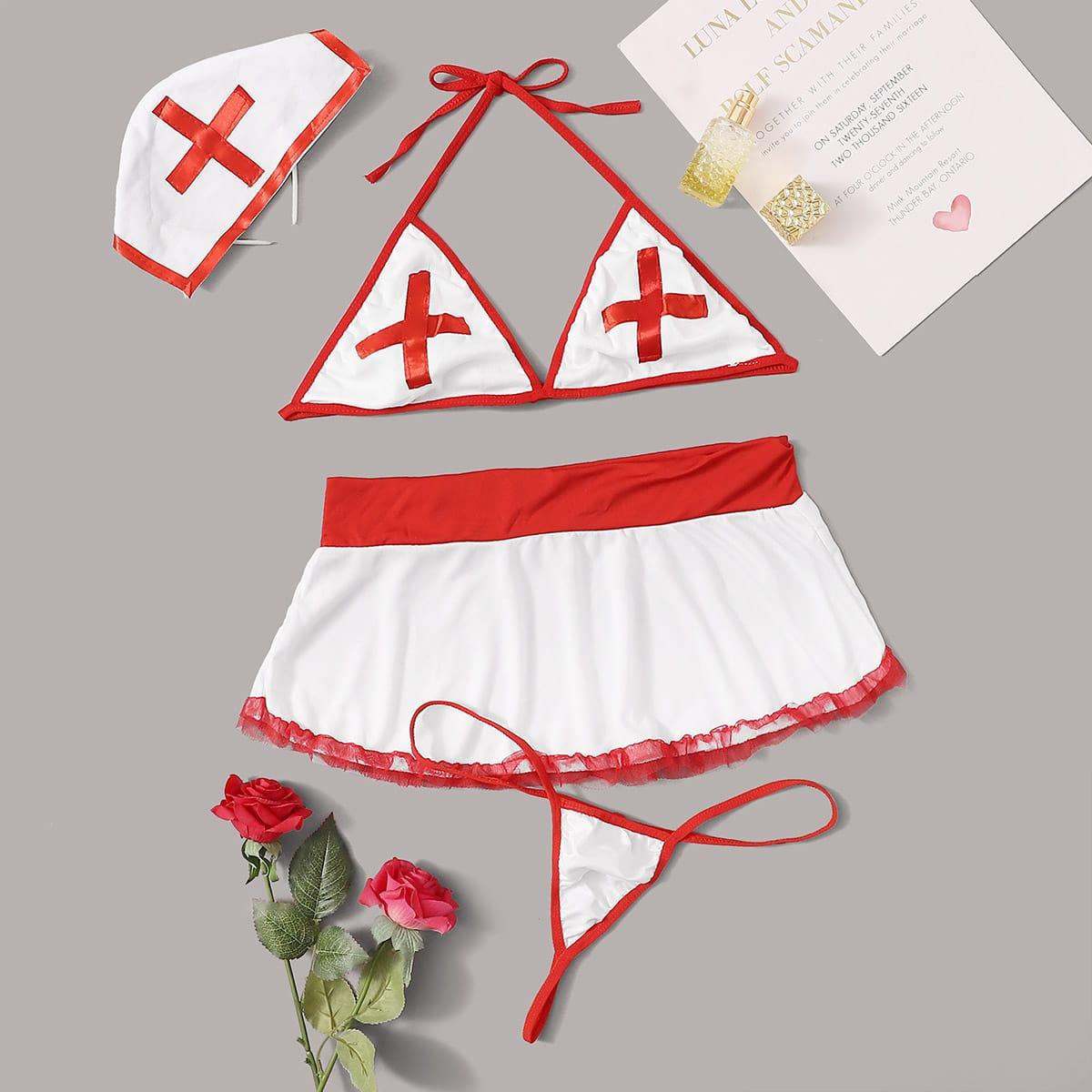 4 пакета повязка на голову и комплект костюма медсестры с халтером от SHEIN