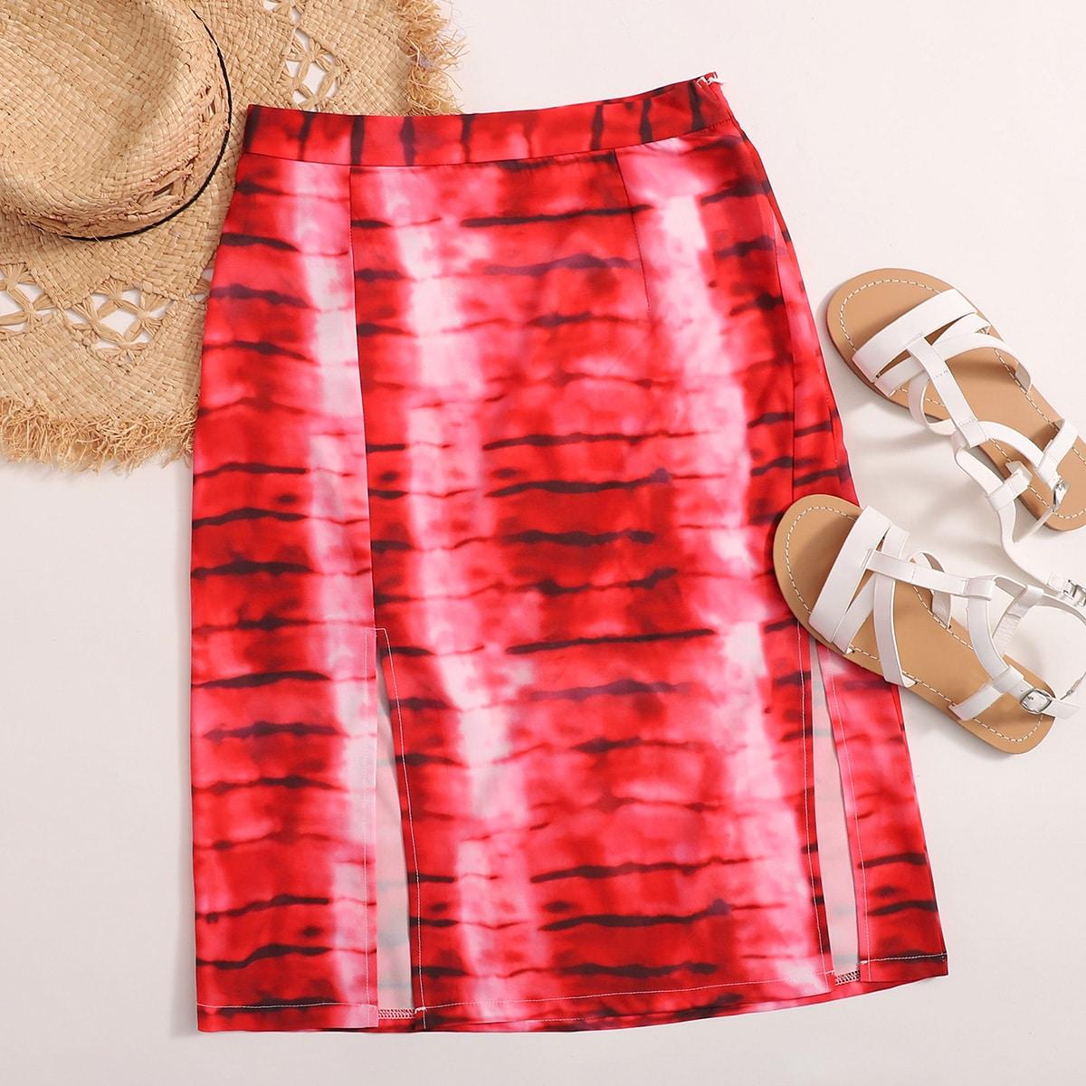 Разноцветная юбка с разрезом фото