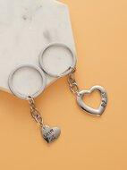 2pcs Heart  Decor Charm Keychain