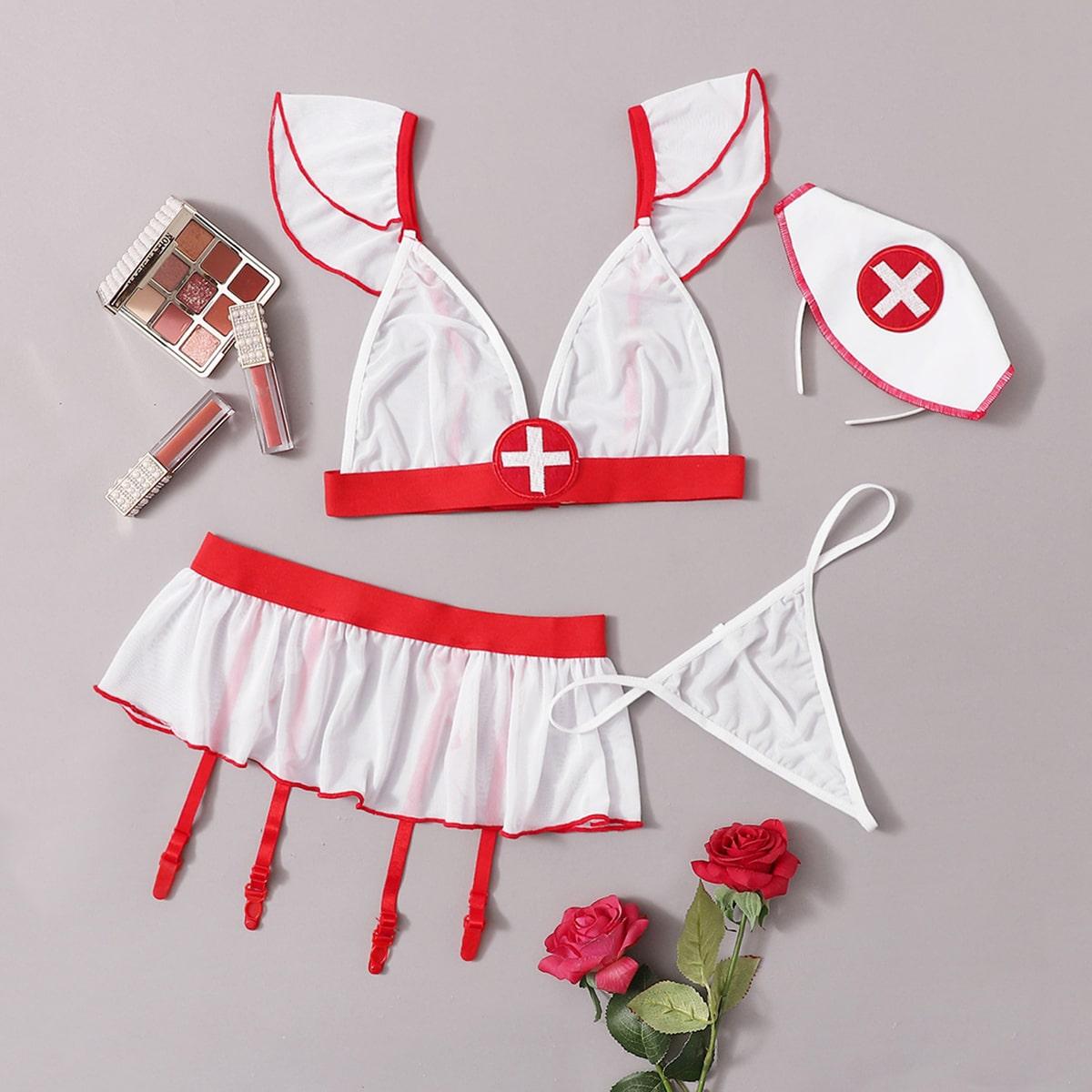 4 пакета повязка на голову и комплект костюма медсестры с подвязками от SHEIN