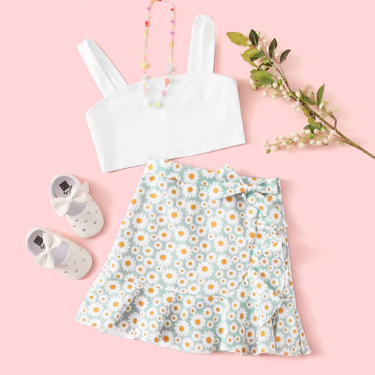 SHEIN / Mädchen Einfarbiges Cami Top & Rock mit Knoten, Gänseblümchen Muster und Raffung