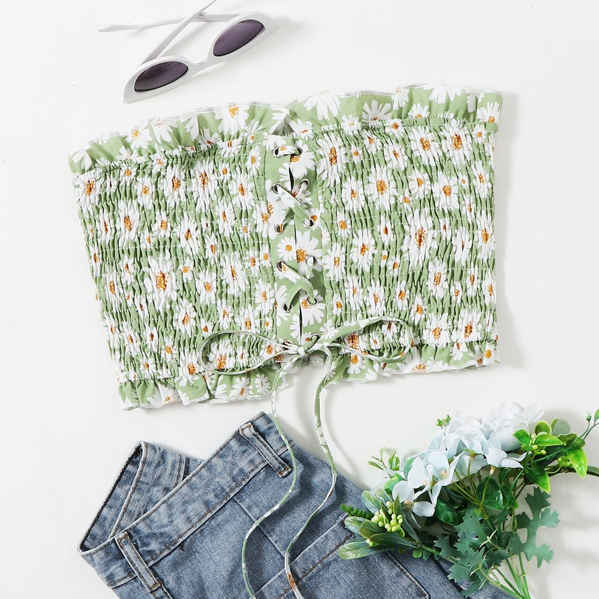 Топ с цветочным принтом на шнурках фото