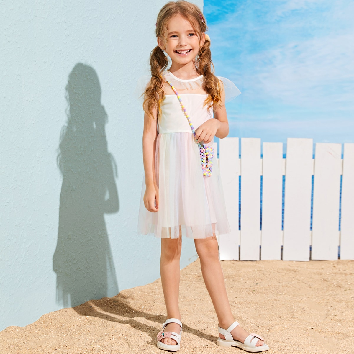 SHEIN / Toddler Girls Ombre Mesh Overlay A-line Dress