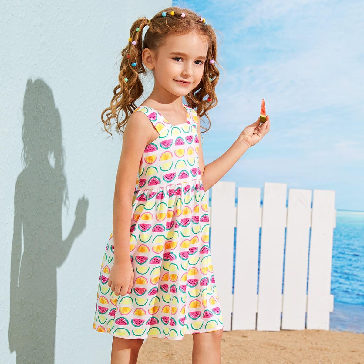 Платье на бретелях миди с принтом фруктов для девочек фото